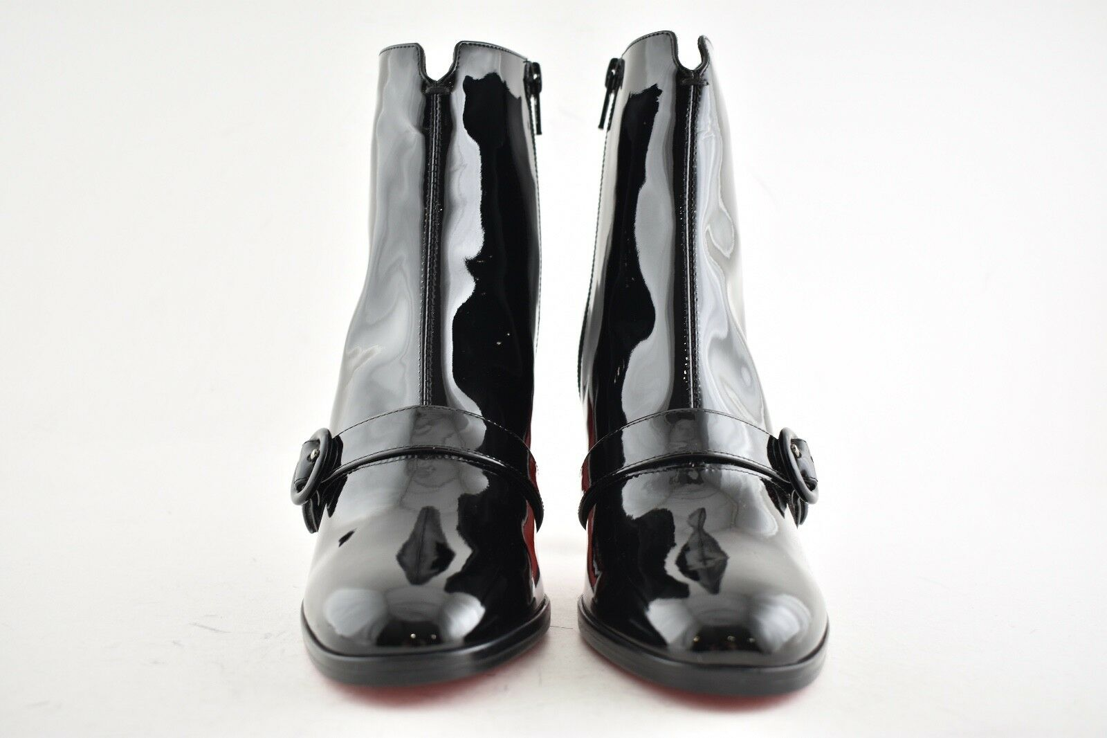 NB Christian Louboutin Louboutin Louboutin Horsy 85 Black Patent Leather Ankle Heel Boot Bootie 37.5 95f7db