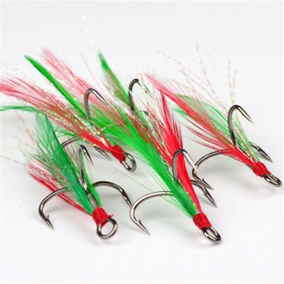 50pcs Flyfishing hook Treble Hook w//Red Feather Carbon Steel Hooks Bait holder