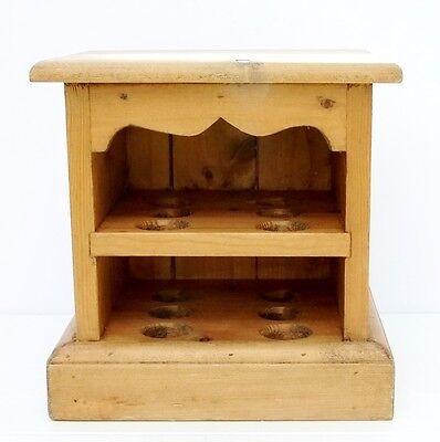Vintage Antique Pine Large Egg Rack Holder Cabinet Cupboard Shelves