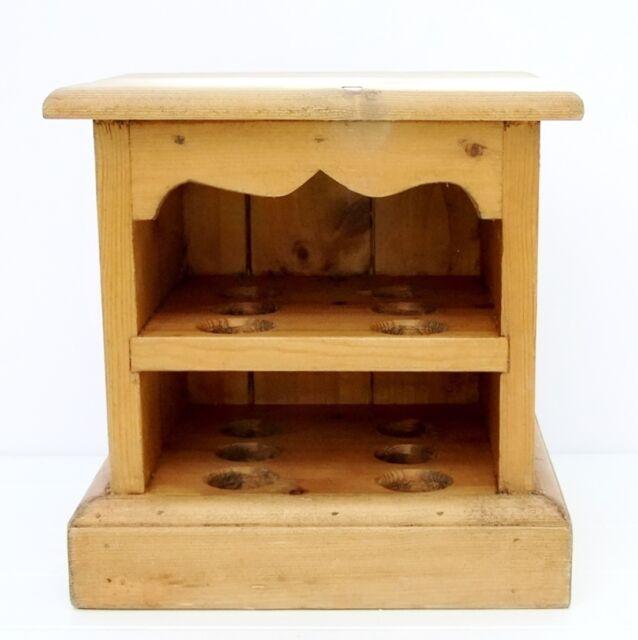 Vintage Farmhouse Pine Egg Rack Cabinet