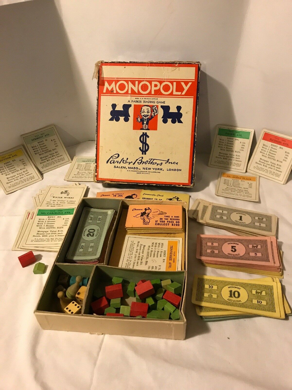 Vintage 1935 Monopoly Game WWII Era Wooden Tokens Very Nice No Board