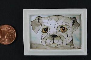 Miniatur-Bild-Hund-50-x-35-mm-Gemaelde-1-12-Puppenstube-Puppenhaus-Nostalgie