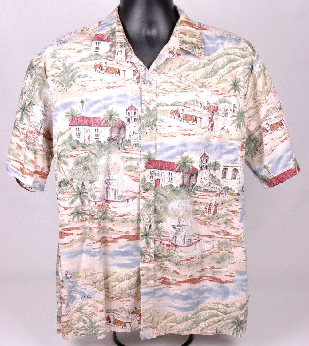 COOKE STREET Hawiian Shirt-L-Button Front-Mission Scene-vtg-Cool-Original-USA