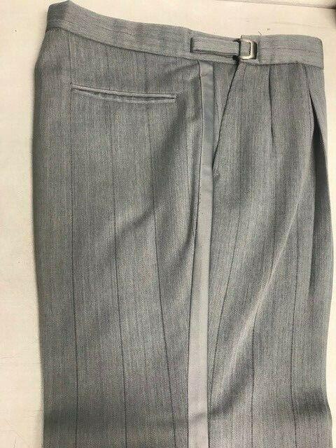 Grey Striped pleated tuxedo pants