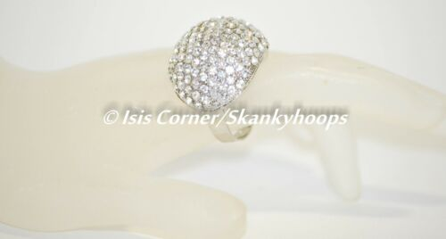 RING OPEN BACK//ADJUSTABLE WIDE DOME FASHIONABLE CLEAR WHITE BLING RHINESTONES
