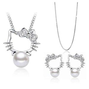 Hello-Kitty-Jewelry-Silver-Crystal-Earrings-and-necklace-set-FREE-SHIPPING