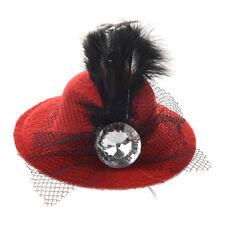 Women Party Rhinestone Decor  Feather Red Mini Top Hat Fascinator Hair Clip L1Z1