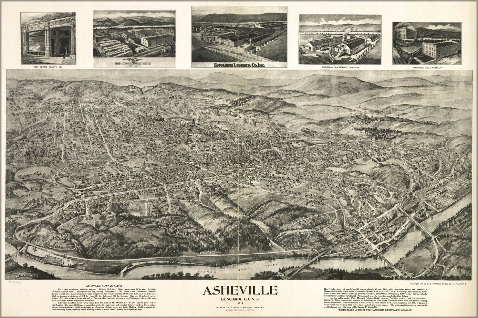 Poster, Many Dimensiones; Birdseye View Map Asheville North Carolina 1912