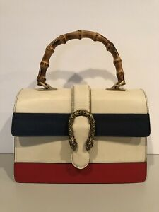 d15c04e0d71 Gucci Dionysus Bag Medium Bamboo Top Handle White Blue Red Leather ...