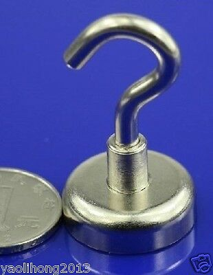 5PCS Neodymium Hook Magnets each holds ** 12 lbs ** N50