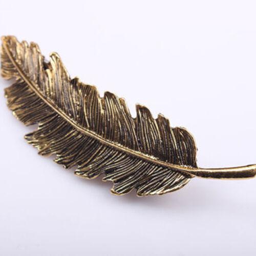 Women Gold Silver Leaf Feather Hair Clip Hairpin Barrette Pin Hair Accessories