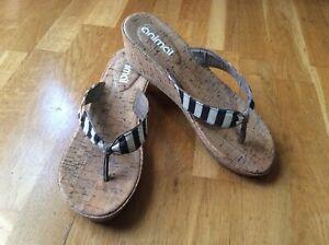 Animal Black/White striped wedge heel