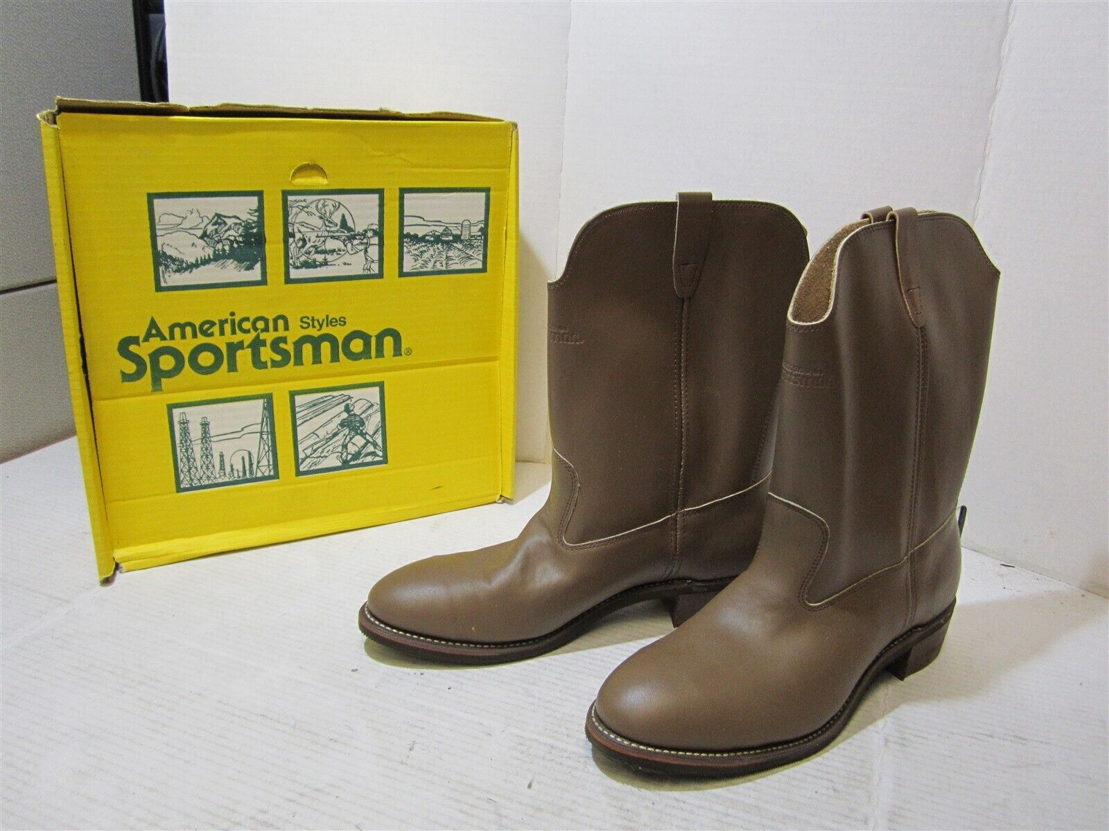 American Styles Sportsman Mens Vintage Brown Neoprene Leather Safety Boots 11 D