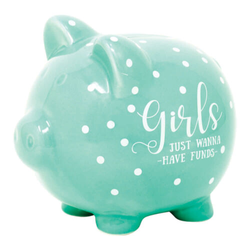 Girls Just Wanna Have Funds Mint Green 5 x 5 Glossy Ceramic Toy Piggy Bank