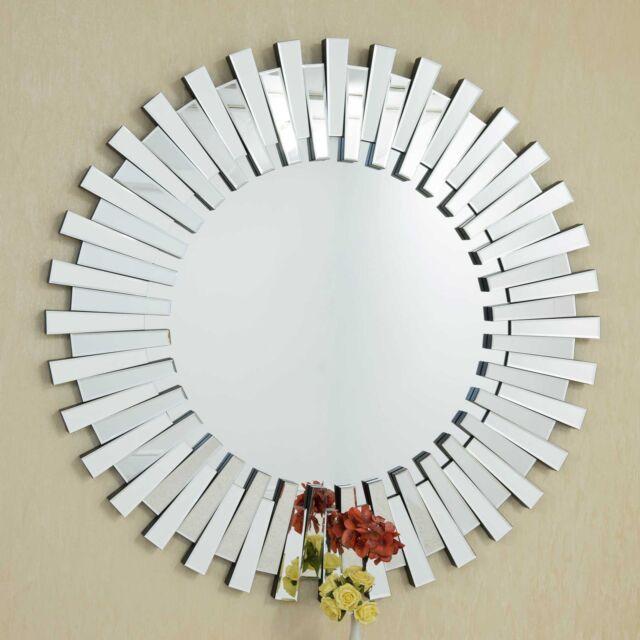 Mirror Jh038 3d Sunburst All, Venetian Large Round Silver Wall Mirror