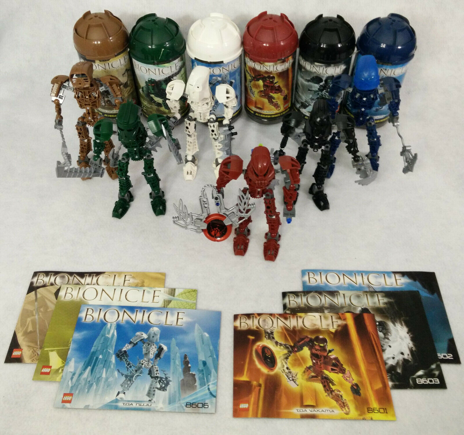 2004 Lego Bionicle TOA METRU Set Canisters Manuals 8605 8602 8606 8604 8601 8603
