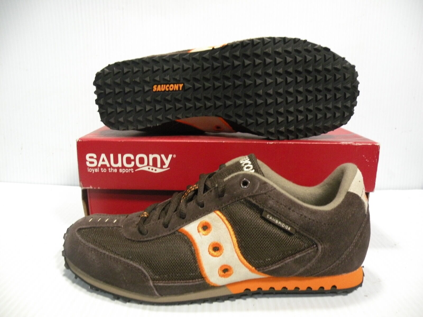 SAUCONY CAMBRIDGE LOW SUEDE VINTAGE SNEAKERS Uomo SHOES BROWN 2865-2 SIZE 7 NEW
