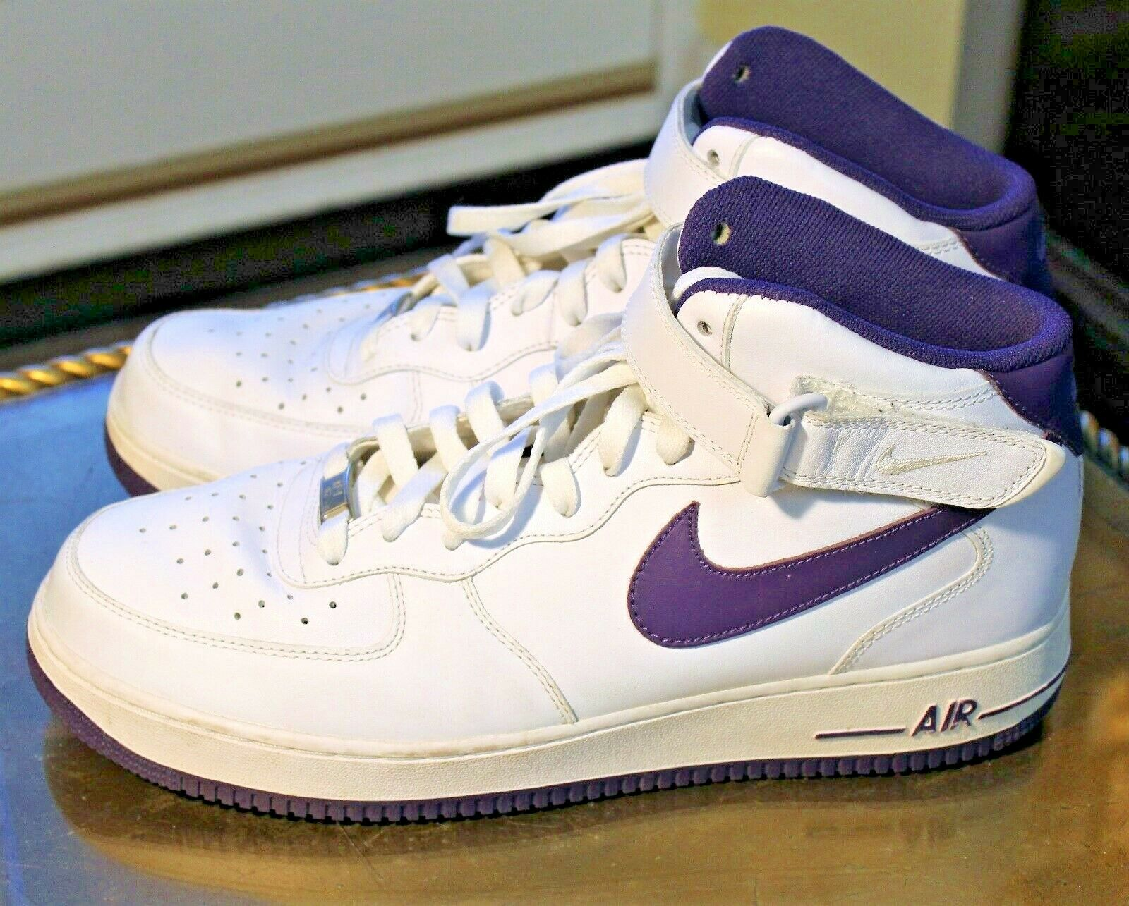 ece65baf0fe4 NIKE AIR FORCE 1 AF1 PREMIUM MID SNEAKER HIGH WHITE PURPLE SIZE 11.5 ...