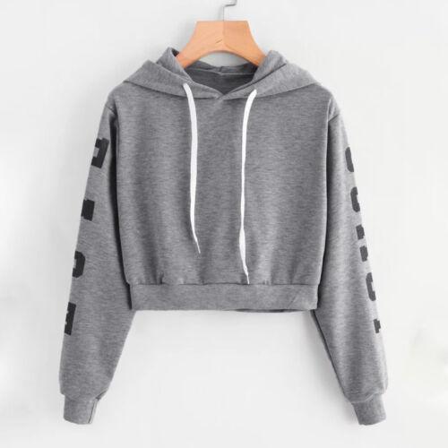 Women Girl Letter Long Sleeve Hoodie Sweatshirt Jumper Pullover Blouse Crop Tops
