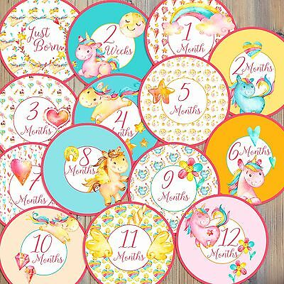 14 Unicorn Pegasus Horse Whimsical Watercolor Newborn Monthly Milestone Stickers