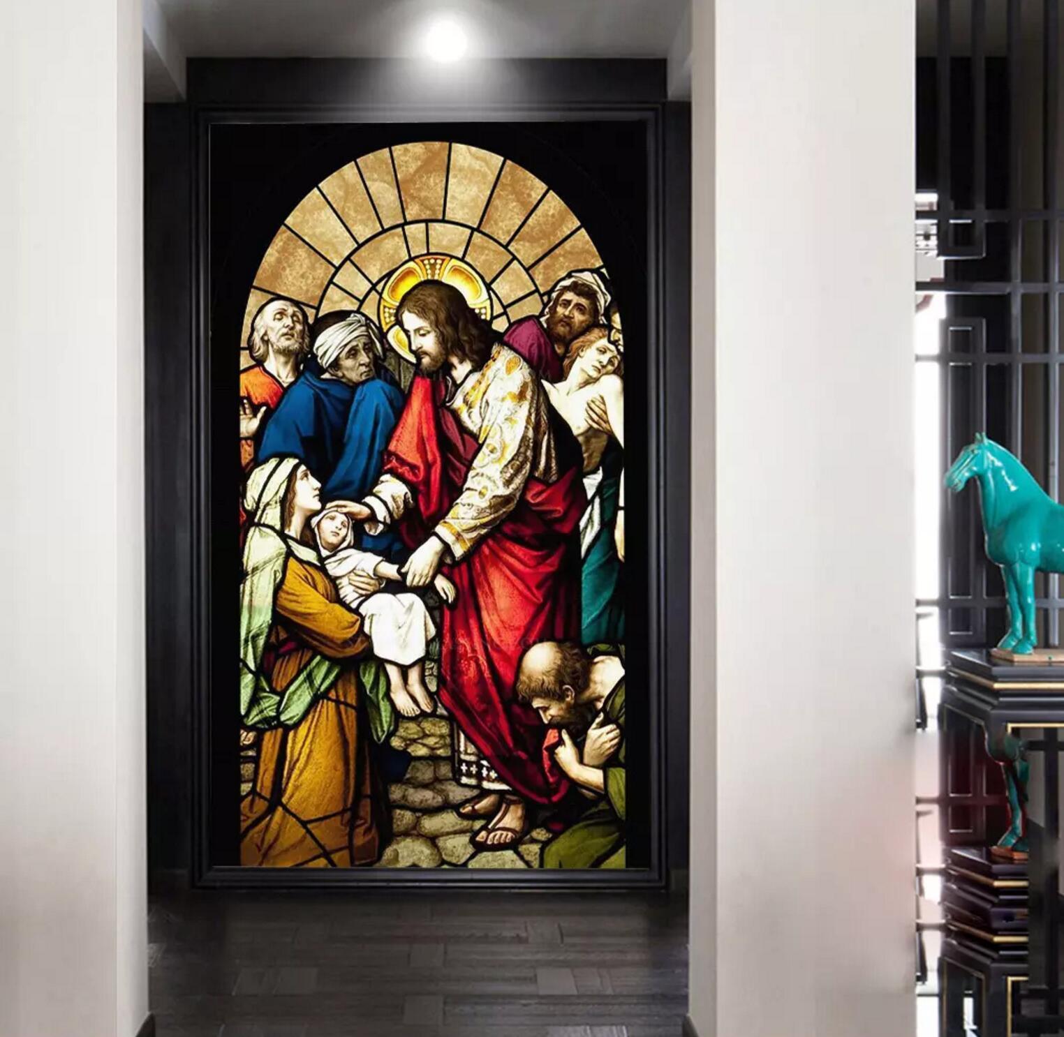 3D Savior Church Glass 2 Wallpaper Mural Print Wall Indoor Wallpaper Murals UK