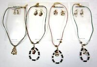 Lot Of 4,8,12---4 Design X Mas Necklace & Earrings Set Holiday Gift--cn100