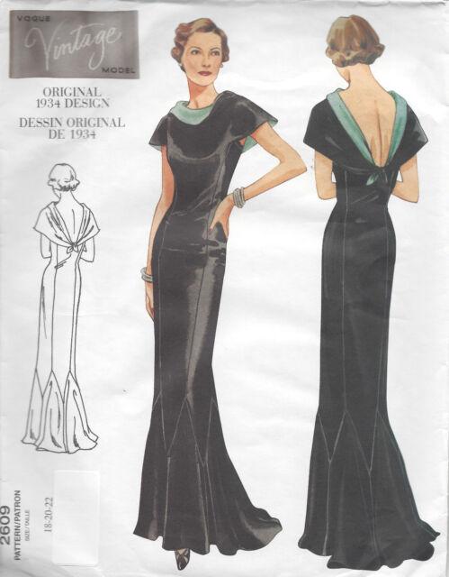 Vintage Dress Pattern 1930s Vogue Vintage 2609 Original 1934 Design ...