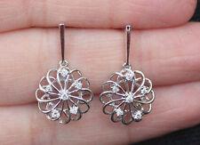 New 10K 0.15ct Diamond Swirling Flower Drop Dangle earrings White Gold Dangling
