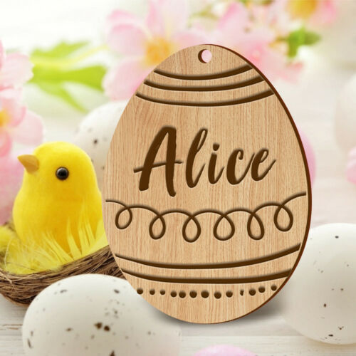 Personalised Easter Egg Bunny Wooden Plaque Name Gift Baby 1st Easter Keepsake