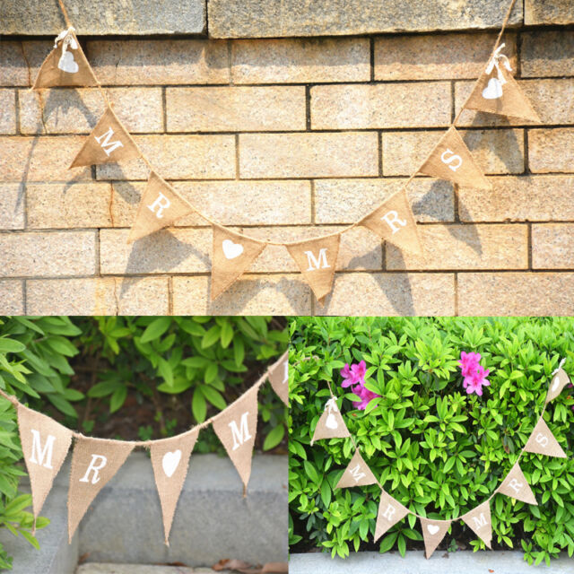 MR and MRS Hessian Burlap Banner Sign Wedding Bunting Party  Decoration Craft