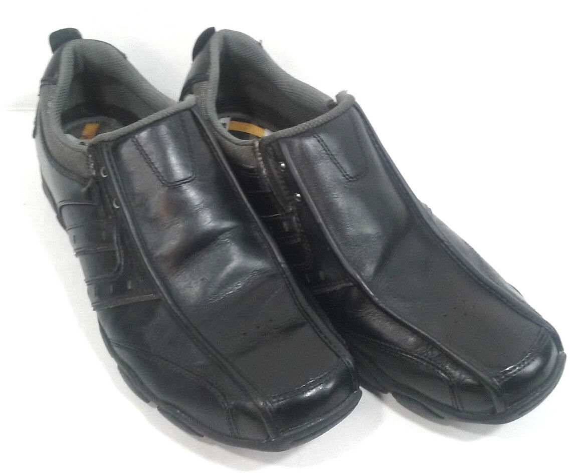 Skechers Relaxed Step Men's Size 10.5 Black Leather Loafers Slip On shoes
