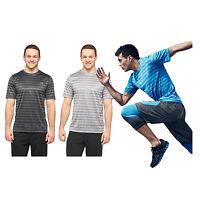 C9 Champion Men Striped Tech T-shirt Duo Dry Uv Protection Comfort Seam Top