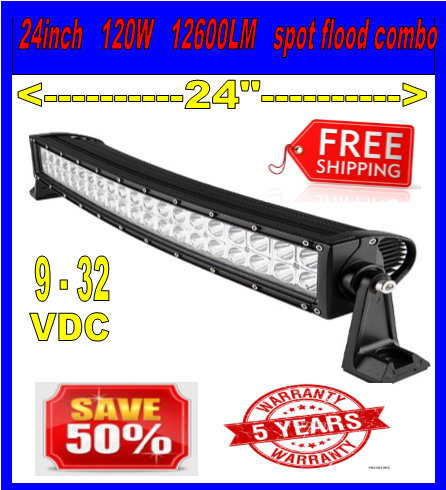 22inch 120w CURVED LED Light Bar Work Flood Spot Offroad Truck ATV SUV 4WD 24