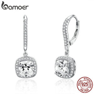 BAMOER-Solid-S925-Sterling-silver-Earrings-Shining-time-Dangle-With-CZ-For-Women