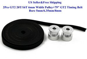 "2Pcs GT2 20T/16T 6mm Width Pulley+79"" GT2 Timing Belt For 3D Printer Reprap US"