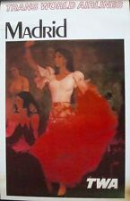 TWA MADRID SPAIN 1965 Vintage Travel poster 25x40 AIRLINES FLAMENCO No Repro