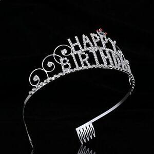Happy Birthday Tiara Crystal Rhinestone Crown Headpiece Hair Jewelry Gifts