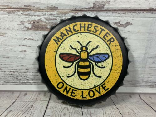 Metal Bottle Top Manchester Bee One Love 1842 ENGLAND UK RETRO VINTAGE SIGNE