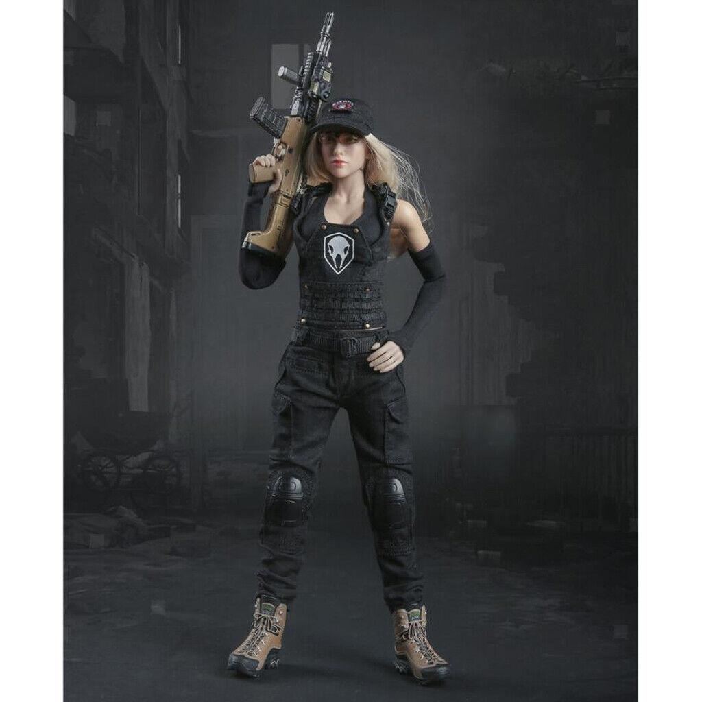 1  6 schwarzer Kampfanzug für 12 '' weibliche Actionfigur