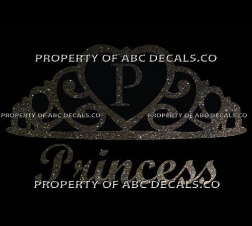VRS Crown Royal Tiara Queen Princess Heart Love Custom INITIAL P Car Metal Decal