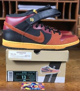 new style b3006 593ff Details about Nike Dunk Mid Pro SB OSTRICH Team Red Rugged Laser Orange  (314383-680) Size 13