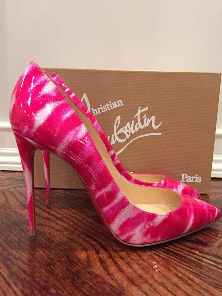 NIB Christian Louboutin Pigalle Follies 100 Shocking Pink Glitter Pump Heel 35