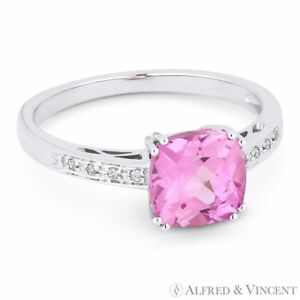2-22ct-Cushion-Cut-Pink-Lab-Sapphire-amp-Round-Cut-Diamond-Ring-in-14k-White-Gold