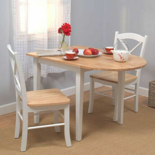 3 Piece Dining Set Drop Leaf Table Cottage Small Wooden Kitchen Dinette  Chairs