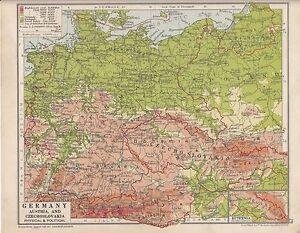 1931 MAP ~ GERMANY AUSTRIA & CZECHOSLOVAKIA PHYSICAL POLITICAL ...