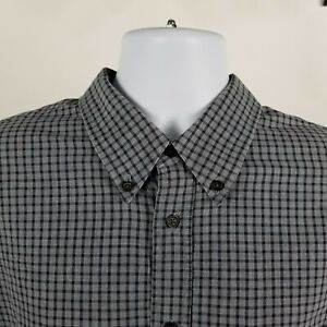 Billy-Reid-Standard-Cut-Mens-Gray-Blue-Mini-Check-Dress-Button-Shirt-Sz-XL