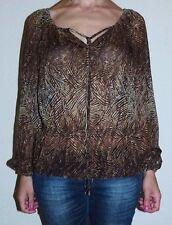 Womens Small Michael Kors Brown Zebra Print Semi Sheer Tunic Top Shirt Blouse