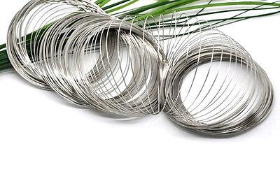 Pack of 40 Coils Silver Steel Memory Wire 65mmx0.6mm Bracelet Earrings Beads