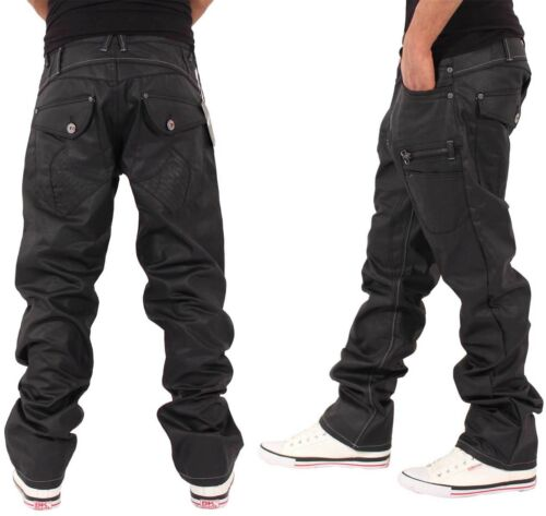G-King Men/'s Denim Loose Fit Jeans Hip Hop Star Black Coated Is Time Money