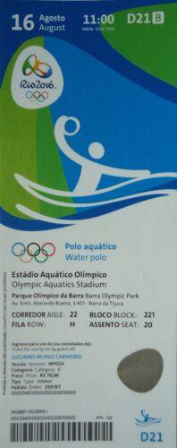 TICKET 16.8.2016 Olympia Rio Wasserball Men/'s Ungarn Montenegro # D21